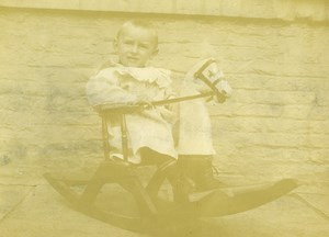 France Cheval à Bascule Jeu d'Enfants Ancienne Photo Amateur 1900