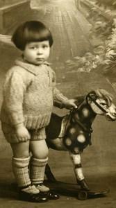 France Garconnet Cheval à Tirer Jouet Jeu d'Enfants Ancienne Photo Amateur 1935