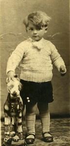 France Garconnet Cheval à Tirer Jouet Jeu d'Enfants Ancienne Photo Amateur 1930's