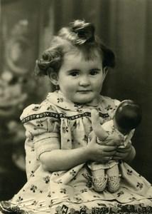 France Merville Fillette et sa Poupée Jeu d'Enfants Famille Carrette Ancienne Photo 1930