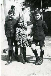 France la Poupée Jeu d'Enfants Groupe Ancienne Photo Amateur 1930