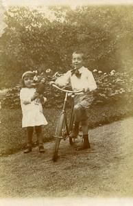 France Garcon et sa Bicyclette Fillette et sa Poupee Ancienne Photo Amateur 1910