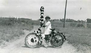 France Saint-Amand-les-Eaux Decorated Bicycle Flowers Old Amateur Photo 1934