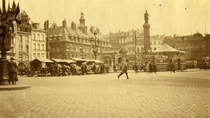 France Lille Grand Place Flowers Market Tramway Old Photo Capin 1933