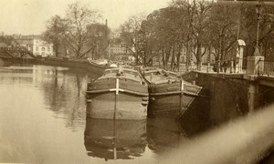 France Lille barges on Deule River Peniches Old Photo Capin 1933