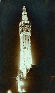 France Lille Beffroi Belfry of the Town Hall by night Old Photo Capin 1933