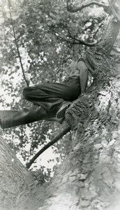 France La Pannerie portrait study Child in a Tree Old Photo Capin 1934