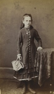 United Kingdom Kilburn Young Girl Portrait Fashion Old CDV Photo Bowen 1870