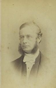 United Kingdom London Man Portrait Fashion Sideburns Old CDV Photo Poulton 1860