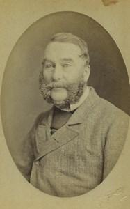 Devon Stonehouse Bearded Man Portrait Fashion Old CDV Photo Grey 1870