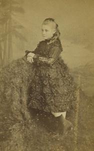 France Lille Young Girl Portrait Fashion Old CDV Photo Carette 1870