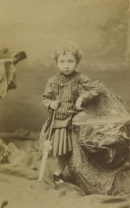 France Lille Young Child Girl Portrait Fashion Old CDV Photo Mallart 1870