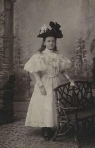 France Lille Young Girl Portrait Fashion Hat Old CDV Photo Cayez 1890
