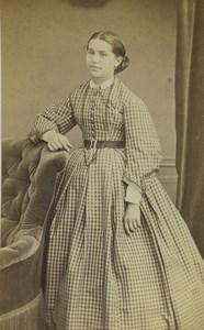 France Paris Portrait Féminin Mode Gallimard Drouard Ancienne Photo CDV Thiebault 1860's