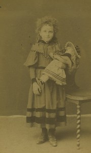 France Lure Young Girl & Doll Portrait Fashion Old CDV Photo Prud'Homme 1890