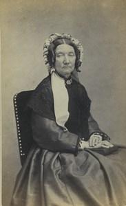 France Paris Woman Portrait Fashion Headdress Old CDV Photo Lagravere 1870