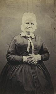 France Paris Elderly Woman Portrait Fashion Headdress Old CDV Photo Mouret 1870