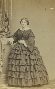 France Paris Woman Portrait Fashion Crinoline Old CDV Photo Franck 1860's