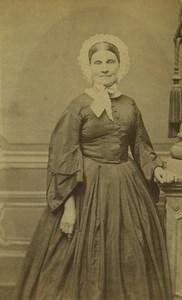 France Paris Woman Portrait Fashion Coiffe Old CDV Photo Bousseton & Appert 1860