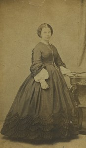 France Lille Woman Portrait Fashion Old CDV Photo Carette 1860
