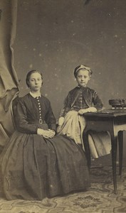 France Lille Woman Mother & Child Portrait Fashion Old CDV Photo Carette 1860's