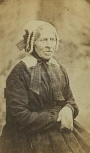 France Senlis Elderly Woman Portrait Fashion Headdress Old CDV Photo Robert 1870