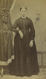 France Tourcoing Woman Portrait Fashion Old CDV Photo Leraille 1870