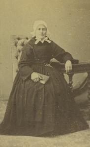 France Granville Woman Portrait Fashion Headdress Old CDV Photo Lefrançois 1870