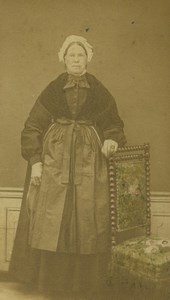 France Nord Portrait Féminin Mode Coiffe Ancienne Photo CDV 1870
