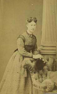 France Dunkerque Woman Portrait Fashion Headdress Old CDV Photo Baron 1870