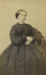 France Dunkerque Woman Portrait Fashion Old CDV Photo William 1870