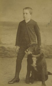 France Lille Boy & his Dog Portrait Fashion Communion Old CDV Photo Ferrand 1887