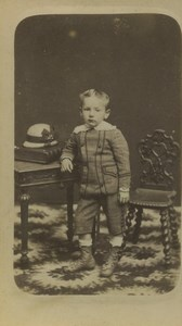 France St Omer Boy Portrait Fashion Hat Old CDV Photo Becquereau 1880