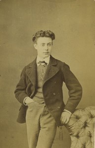 France Dunkerque Young Man Portrait Fashion Old CDV Photo Baron 1870