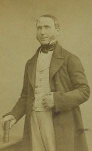 France Paris Man Portrait Fashion Sideburns Old CDV Photo Mulot 1860's