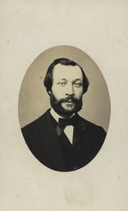 France Vichy Man Portrait Fashion Bow tie Old CDV Photo 1860's
