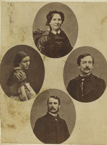 France Paris Group Gem Portraits Photomontage Old CDV Photo Disderi 1860