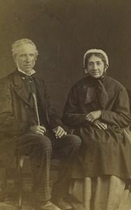 France Lyon Elderly Couple Portrait Fashion Old Photo Champiot 1870