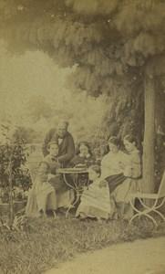 France Sainte Foy Family Picnic in Garden Outdoors Old CDV Photo Boursaus 1860's