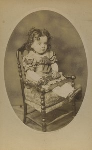 France Cernay Baby Child Portrait Nice Chair Old CDV Photo Fisch 1890