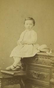 France Douai Baby Child Portrait Old CDV Photo Cebé 1870