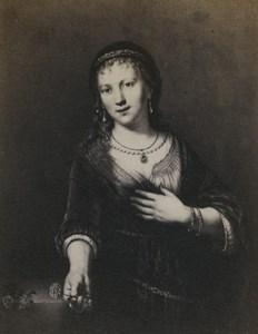 Allemagne Art Musée Paul Rembrandt Portrait de Saskia Ancienne Photo CDV 1870