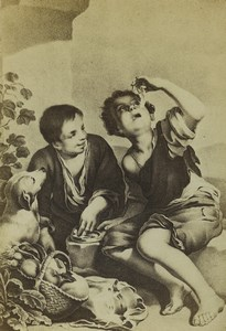 Germany Art Museum Murillo Children Eating a Pie Old CDV Photo 1870