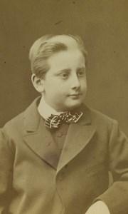 France Lyon Portrait Jeune Garcon Ancienne Photo CDV Antoine Lumière 1872 #2