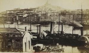 France Marseille Vapeurs dans le Vieux Port Ancienne Photo Neurdein 1870's