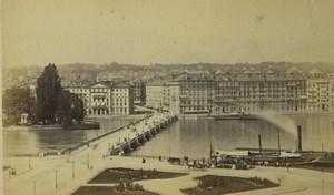 Switzerland Geneva Quai du Mont-Blanc Old Photo 1870's