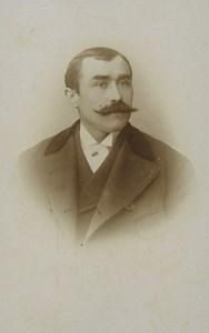 France Paris Man Portrait Moustache Fashion Old CDV Photo Mercier 1890's #1