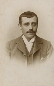 France Paris Man Portrait Moustache Fashion Old CDV Photo Mercier 1890's #2
