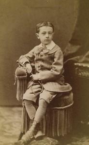 France Lyon child Boy Portrait Fashion Old CDV Photo Victoire 1880 #1