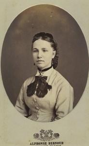 France Lyon Woman Portrait Fashion Old CDV Photo Alphonse Bernoud 1875
